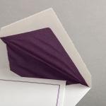 Echt Bütten Couverts mit lila Doppelrahmen Diplomat mit Futter