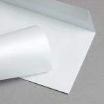Metallics schimmernd Couverts DIN lang Weiss mit Blauschimmer | ohne Fenster