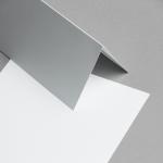 Metallics schimmernd Karten DIN lang hochdoppelt Weiss mit Blauschimmer